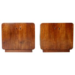 1970s Waterfall Walnut Cabinets by Thomasville