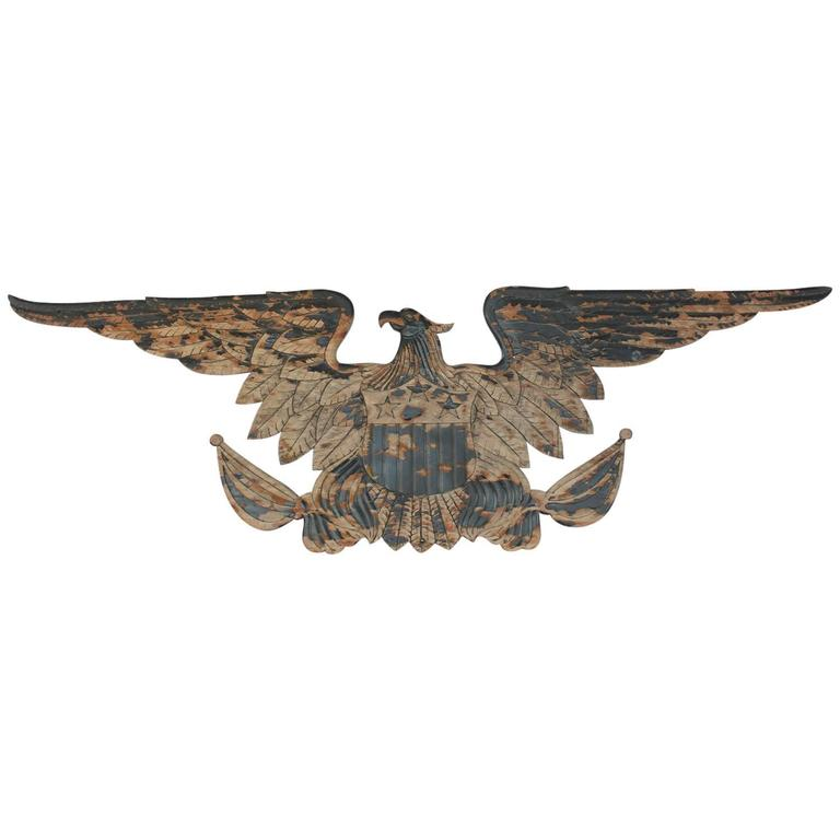 Late 19th Century American Hand Carved Wood Eagle At 1stdibs