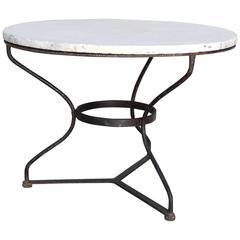 Antique French Marble Gueridon Table with Iron Base, Circa 1950