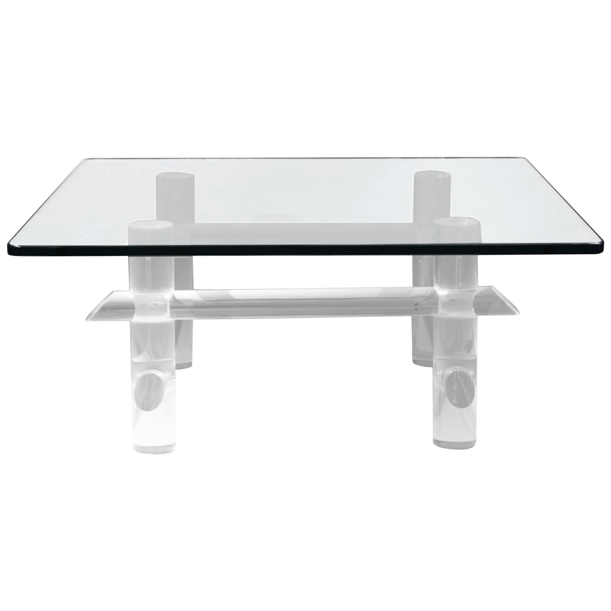 Vintage Lucite And Glass Coffee Table By Les Prismatiques For Sale