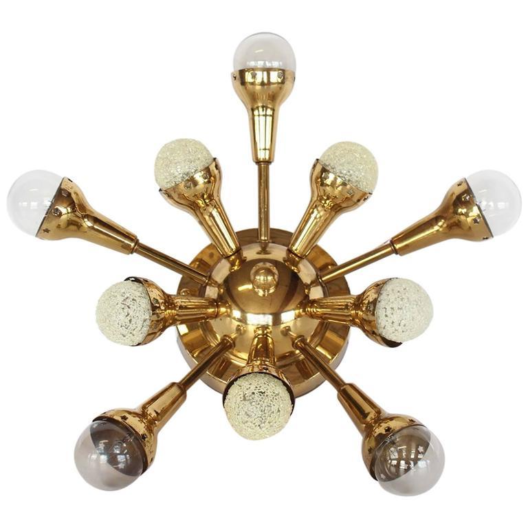 Mid-Century Flush Mount Brass Sputnik Chandelier