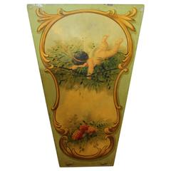 Large 1930s Decorative Carnival Ride Hand-Painted Wood Panel