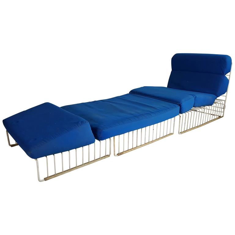 Pair Of Mid Century Modern Wire Iron Cage Chaise Lounge