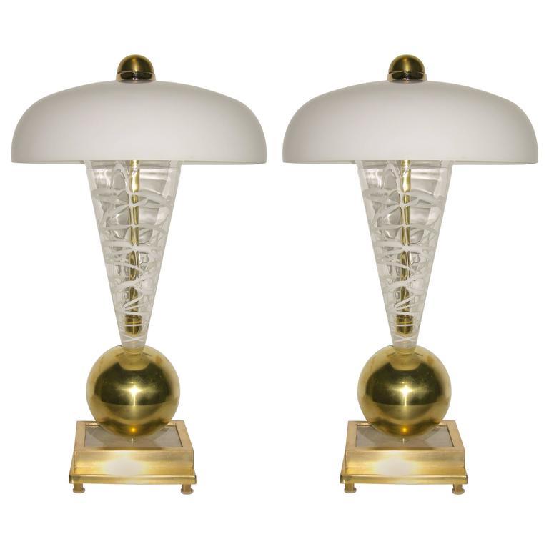 1970s Italian Pair of Custom-Made Murano Glass Lamps Attributed to Vistosi