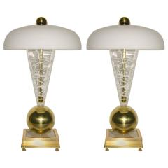 1970s Italian Pair of Custom-Made Murano Glass Lamps Attributed to Vistosi