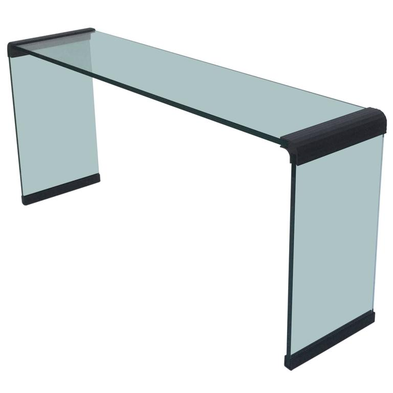 Scalloped Bronze and Glass Console Table by Leon Rosen for Pace Collection