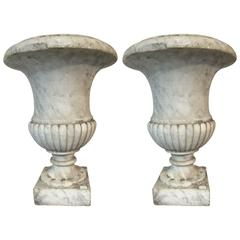Pair of Carrara Marble Medici Vases, Early 19th Century, France