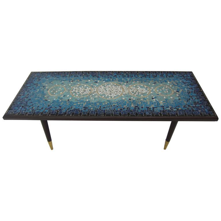 Mid-Century Glass Mosaic Coffee Table, Genaro Alvarez At