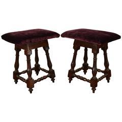 Pair of Italian Early 18th Century Dark Walnut and Upholstered Footstools