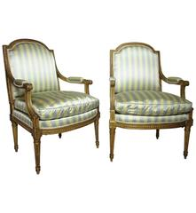 Pair of French 19th Century Louis XVI Style Giltwood Carved Fauteuil a La Reine