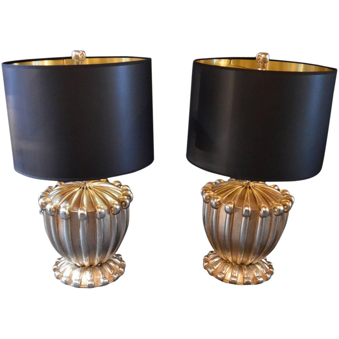 Pair of White Gold Bryan Cox Lamps
