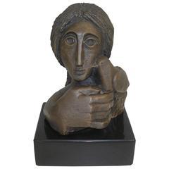 "Original Bronze Sculpture of ""Woman with Dove"" by Sunol Alvar"
