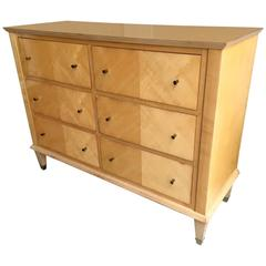 Jacques Adnet Sycamore Chicest Neoclassic Chest of Six-Drawers