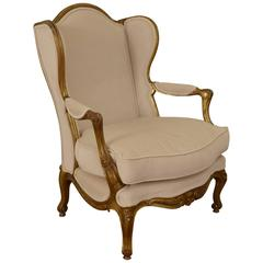 French Mid-19th Century Carved Giltwood and Upholstered Bergere