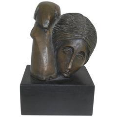 "Bronze Sculpture by Sunol Alvar Titled ""Indian with Bird"""