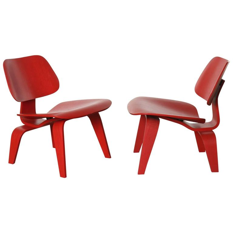 Pair of Red Eames Molded Plywood Lounge Chair LCW at stdibs