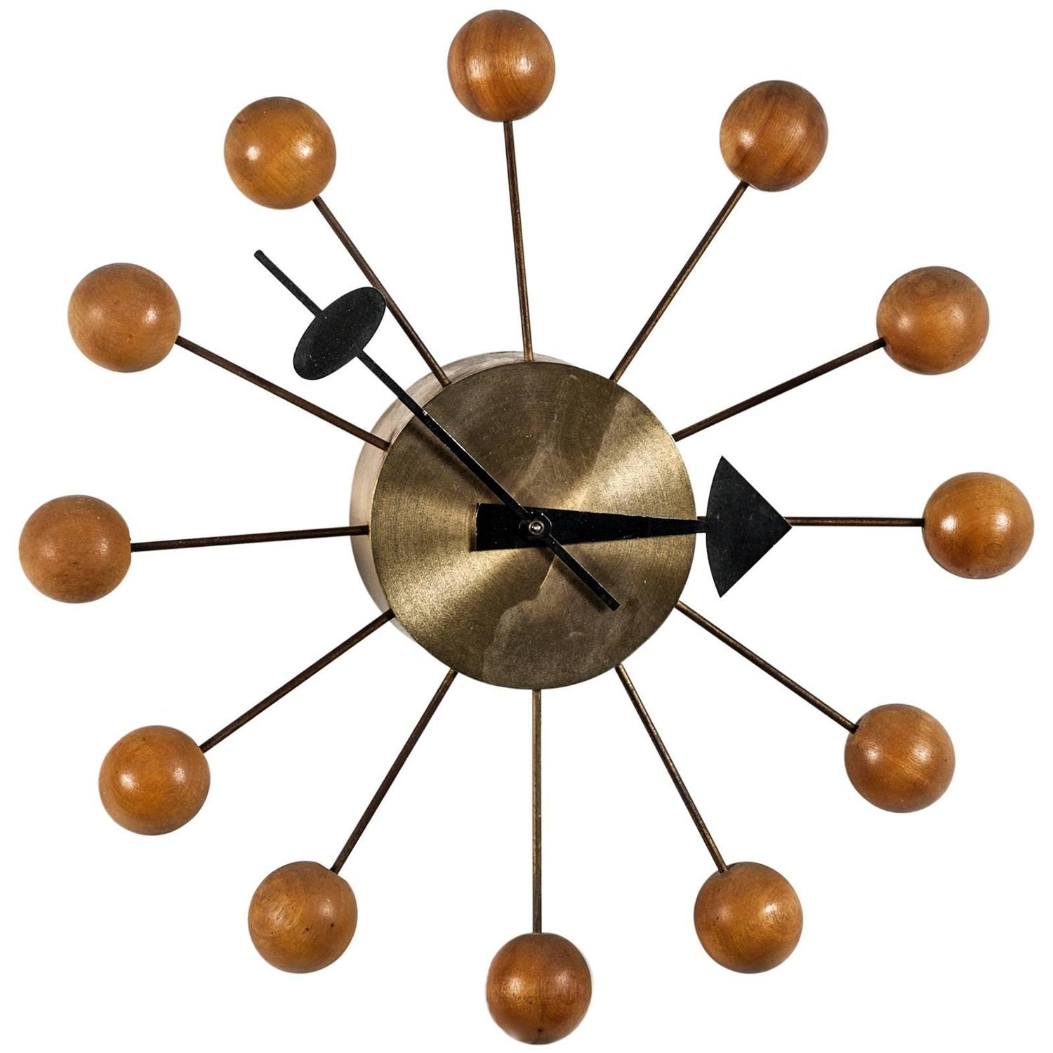 Wall clock george nelson ball clock for herman miller for Nelson wall clock