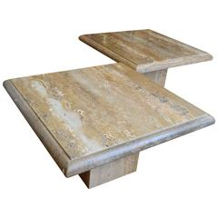 Merveilleux Travertine Pair Of Large Square Coffee Tables