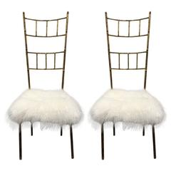 Tall Gold Gilt Gio Ponti Style Chairs with Long Haired Sheep Fur