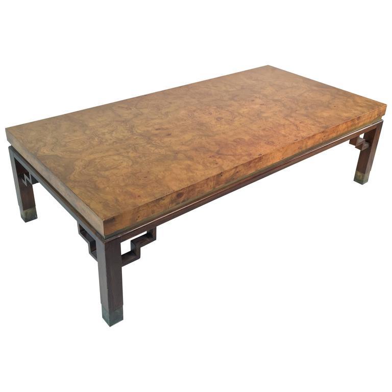 Burl Coffee Table Legs: 20th Century Burl Wood Rectangular Coffee Table With
