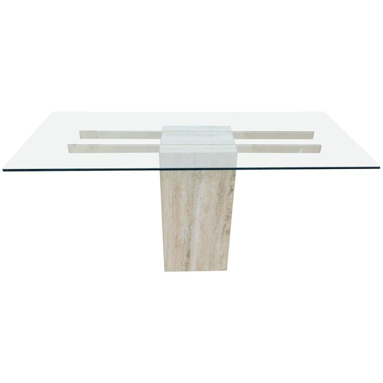 Travertine and Glass Pedestal Console Table