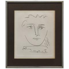 """Original Etching """"Pour Robie"""" by Pablo Picasso"""