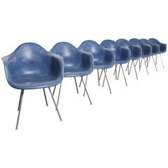 Rare Blue Fiberglass Shell Chairs by Charles Eames for Herman Miller