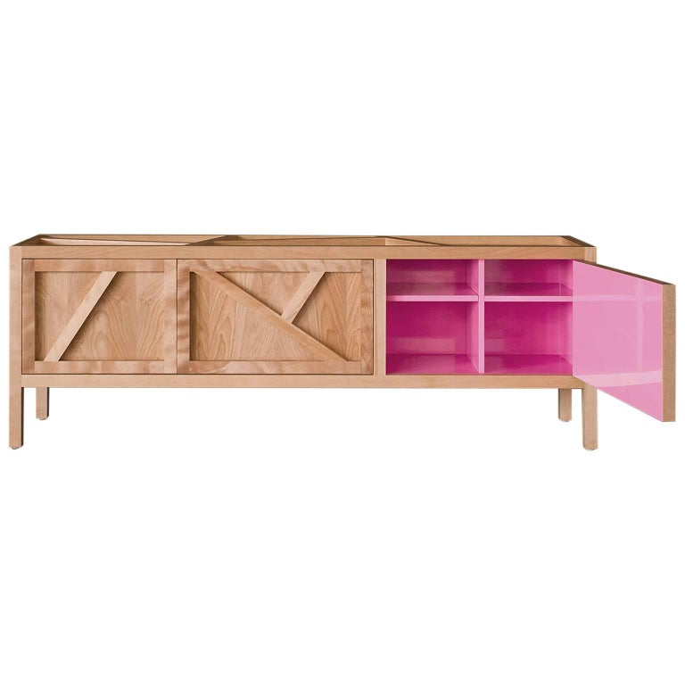 Inside-Out sideboard Cabinet Largo, Fine Lacquer Pink Credenza, cupboard walnut For Sale