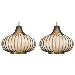 Pair of Glass and Brass Toned Metal Frame Onion Form Pendant Lamps