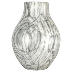 Large Handmade Vase in Wildly Grained Carrara Marble, Italy, 1950s