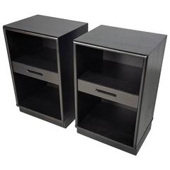 Handsome Ebonized Nightstands with Leather Plinth Bases by Edward Wormley, 1950s