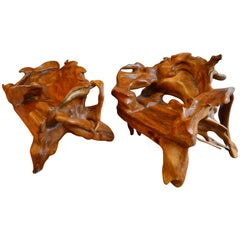 Pair of Monumental Burl Wood Organic Lounge Chairs