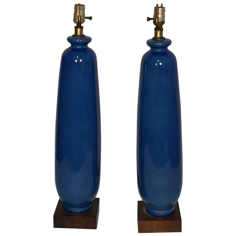 Pair Of Tall Blue Vase Form Table Lamps For Sale At 1stdibs