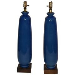 Pair of Tall Blue Vase-Form Table Lamps