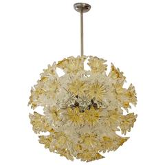 "Mid-Century Murano Amber and Clear ""Esprit"" 27.7"" Chandelier by Venini"