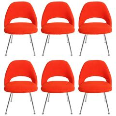 Eero Saarinen Knoll Executive Side or Dining Chairs with Chrome Legs, Set of Six