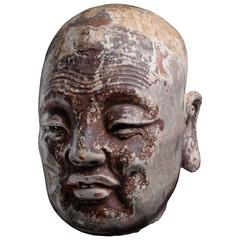 Ancient Chinese Song Dynasty Head of a Lohan Buddha