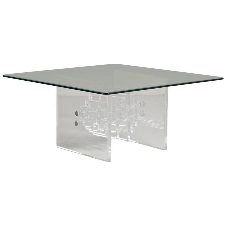 Square Slab Ended Lucite Coffee Table With Glass Top 1970s For Sale At 1stdibs