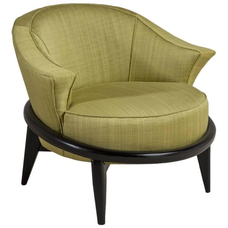 Single Ebonized Framed Upholstered Armchair For Sale