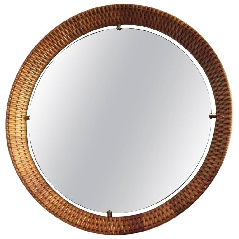 Rattan Wall Decor Round : S elegant round rattan mirror at stdibs