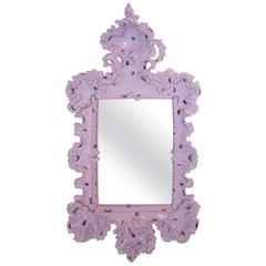 Mirror Decorated with Insects, Furiosa Edition Purple Ceramic, circa 2010, Italy