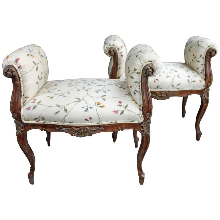 Pair Of Nicely Detailed Louis Xv Style Rolled Arm Benches At 1stdibs