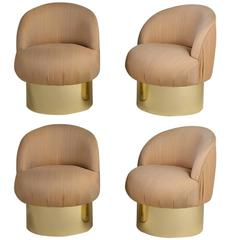 Set of Four Brass Based Tub Upholstered Swivel Chairs 1960s