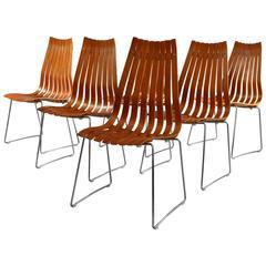 "Set of Six Hans Brattrud ""Scandia"" Teak Dining Chairs"