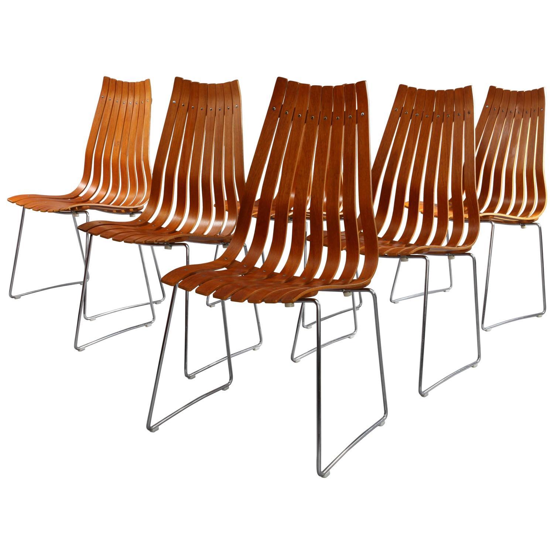 Set Of Six Hans Brattrud Scandia Teak Dining Chairs At 1stdibs