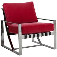 Milo Baughman Style Chromium Steel Armchair, 1970s