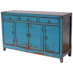 Blue Washed Wooden Sideboard