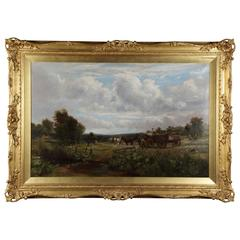Country Scene with Hay Cart by Charles Thomas Burt