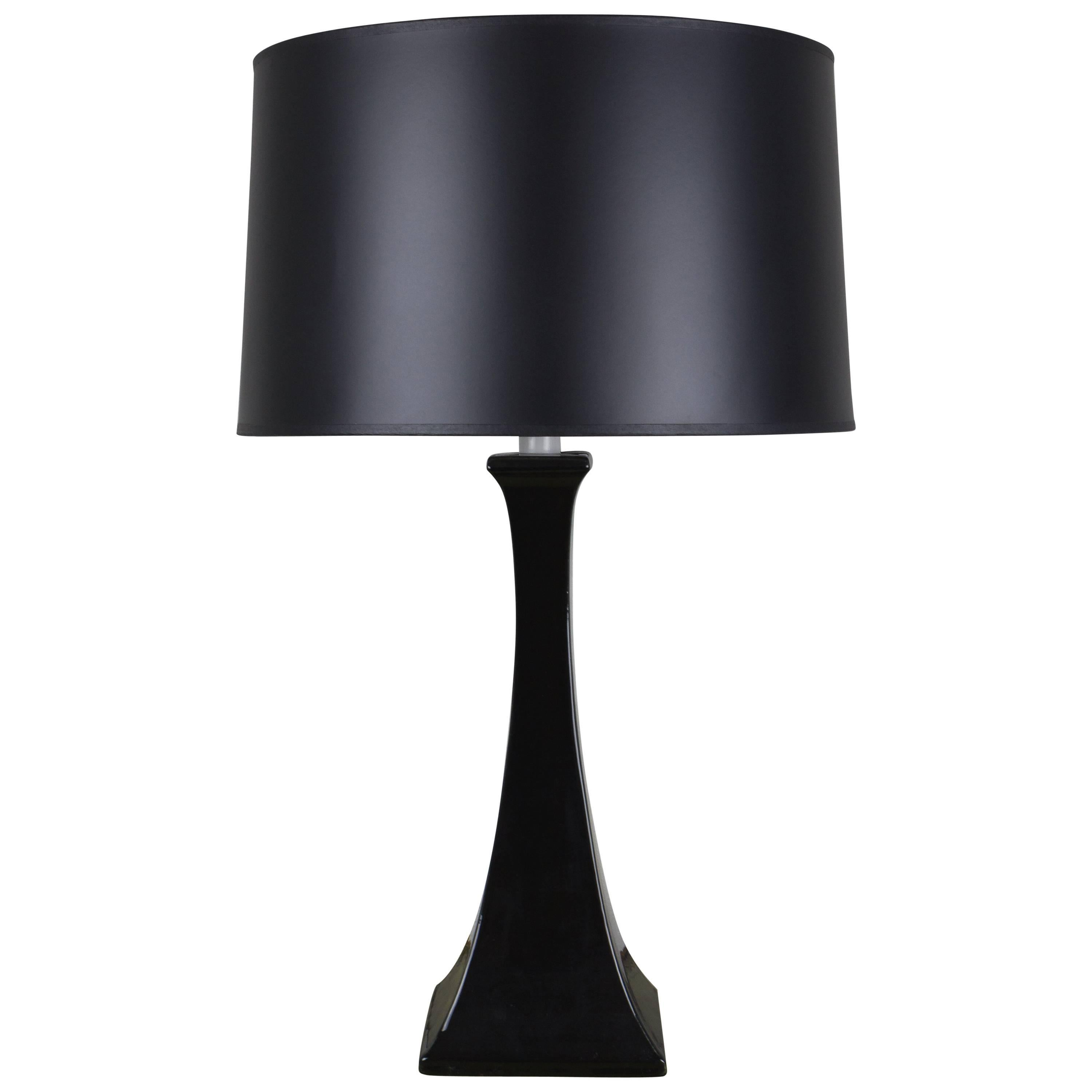 Mid Century Modern Black Ceramic And Chrome Table Lamp For Sale At 1stdibs