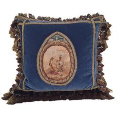 Handmade French Pillow with 18th Century Aubusson Tapestry, Trims and Tassels